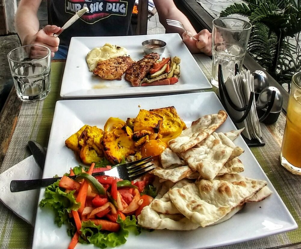 western and Nepali meals in a Pokhara restaurant