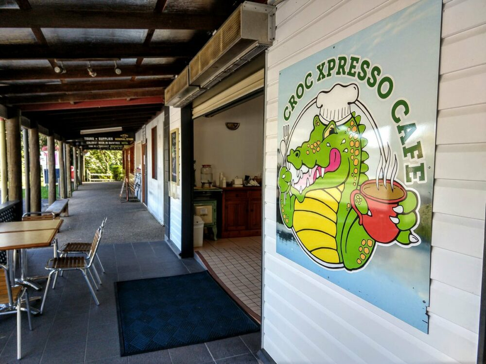 covered walkway and croc xpresso cafe Daintree Village