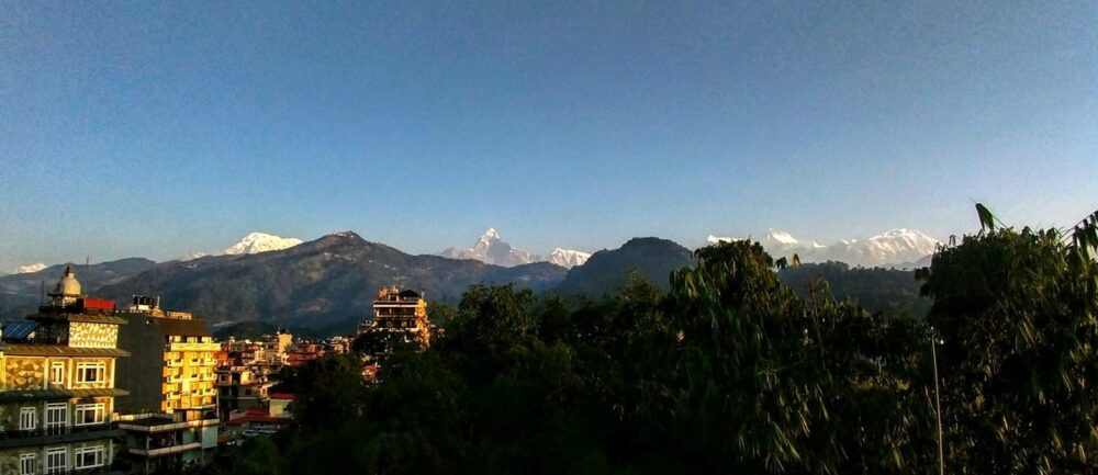 mountain views from hotel rooftops pokhara