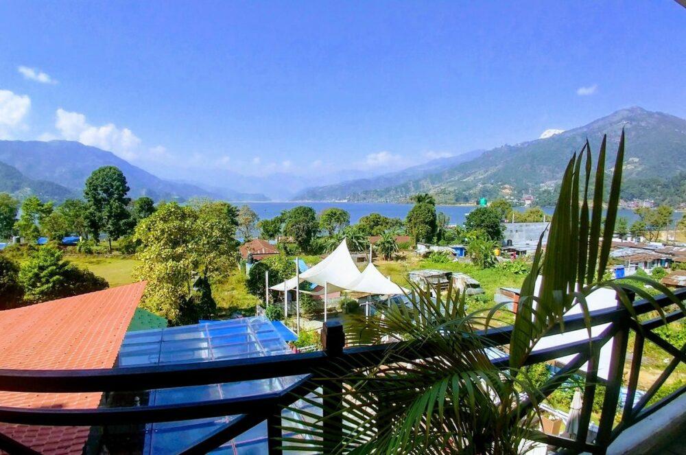 view of mountains and phewa lake lakeside pokhara