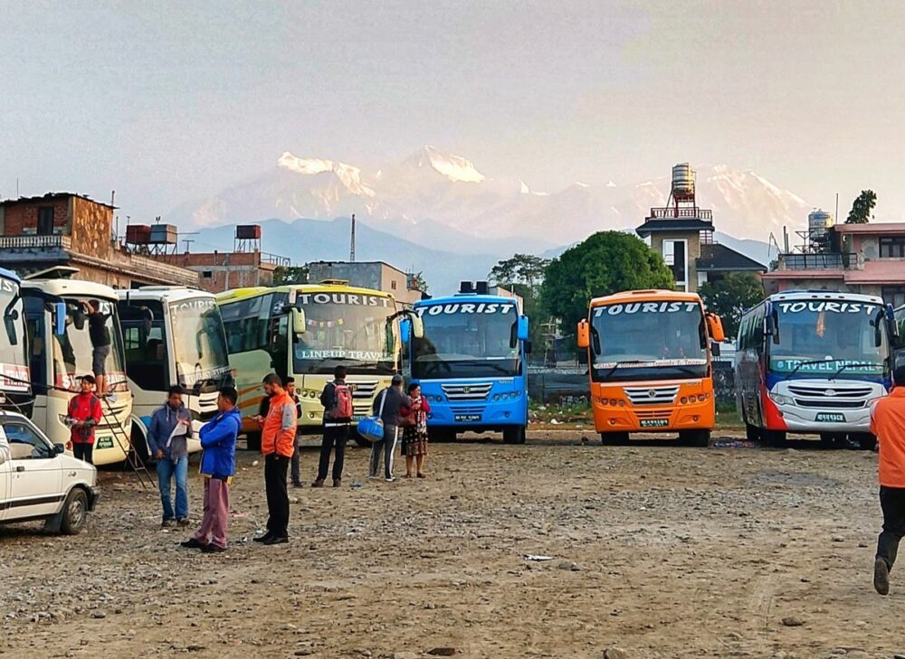 buses at pokhara bus station nepal