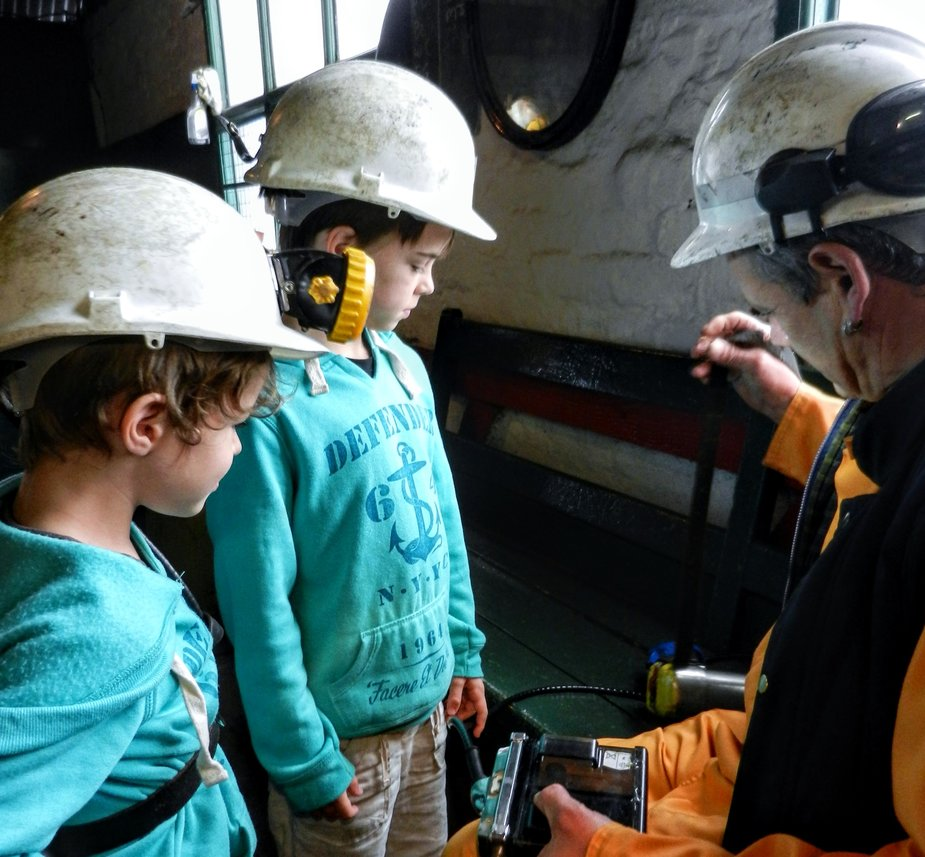 Big Pit Mining Museum Wales With Kids Children with Welsh miner