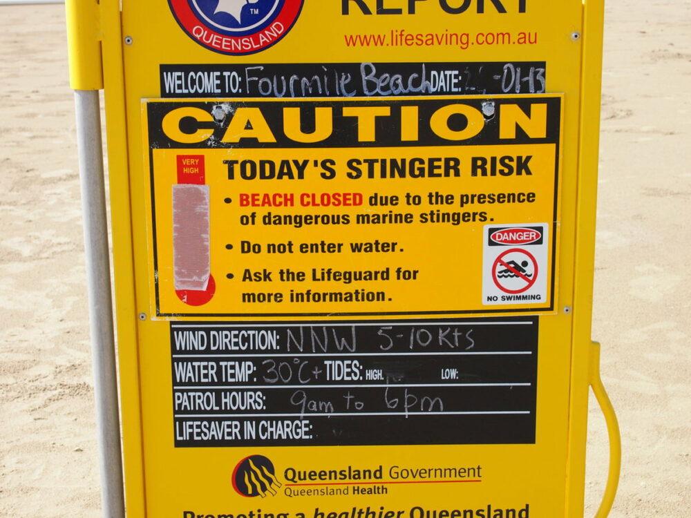 Port Douglas Beach Closed Sign