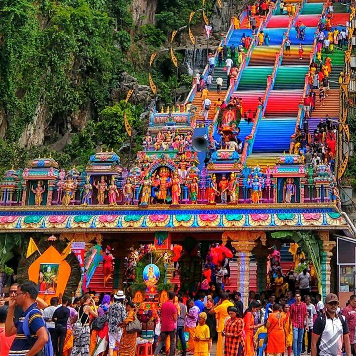 Rainbow steps and pilgrims at Batu Caves Kuala LumpurTravel destinations for families Malaysia
