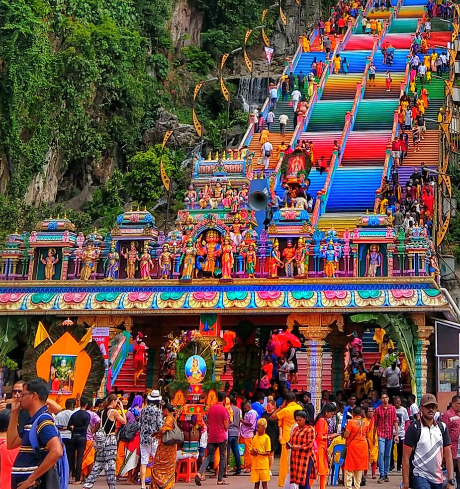 Rainbow steps and pilgrims at Batu Caves Kuala LumpurTravel destinations for families Malaysia
