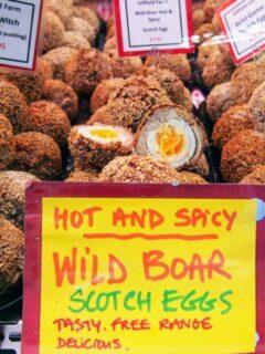 British food market Scotch eggs
