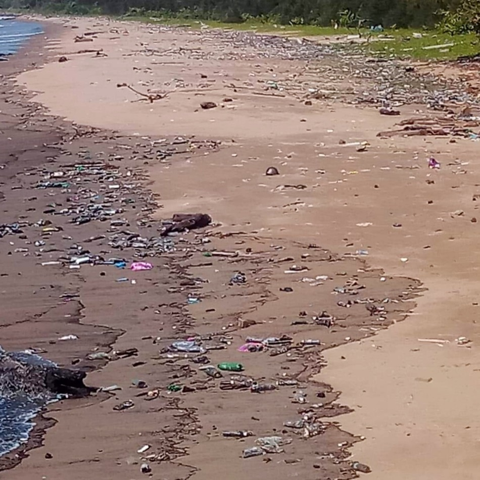 Beach pollution Borneo