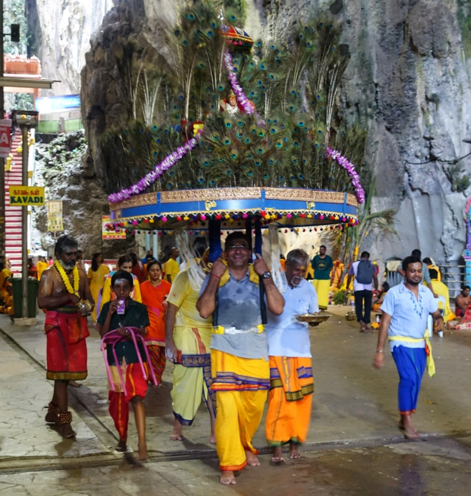 Inside Batu caves at Thaipusam