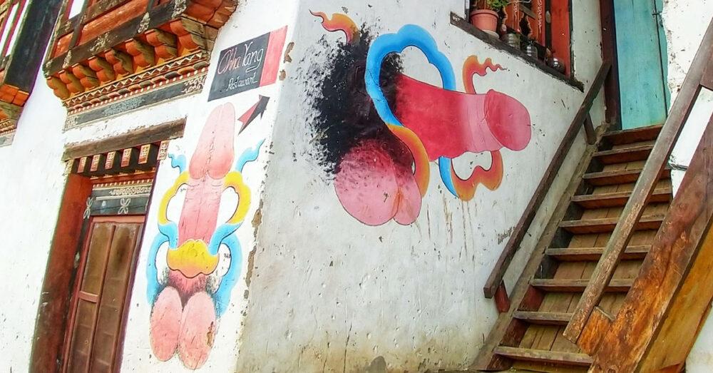 bhutan penis art mural bhutanese house