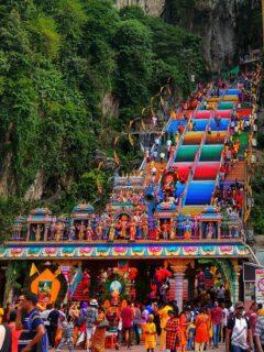 Batu Caves Kuala Lumpur rainbow stairs