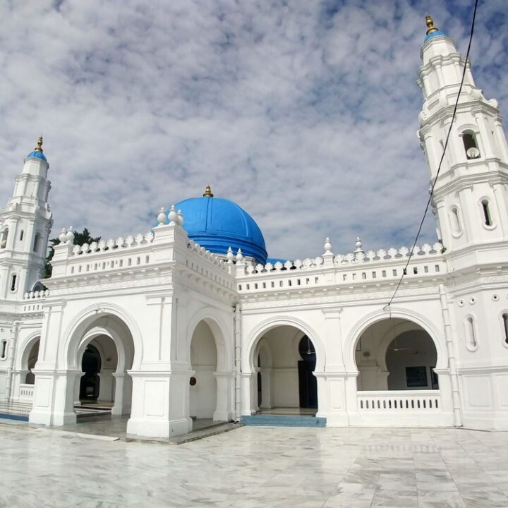 white mosque in ipoh blue roof