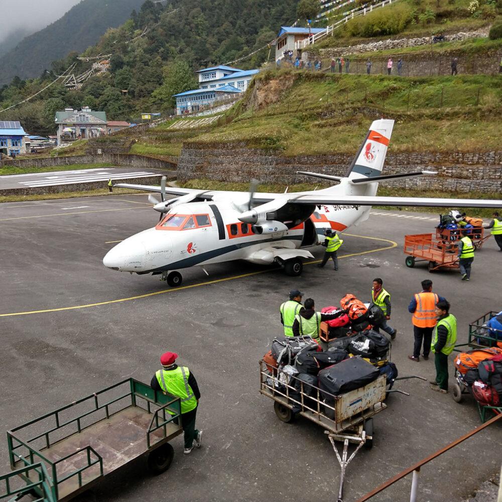 baggage handlers at Lukla airport