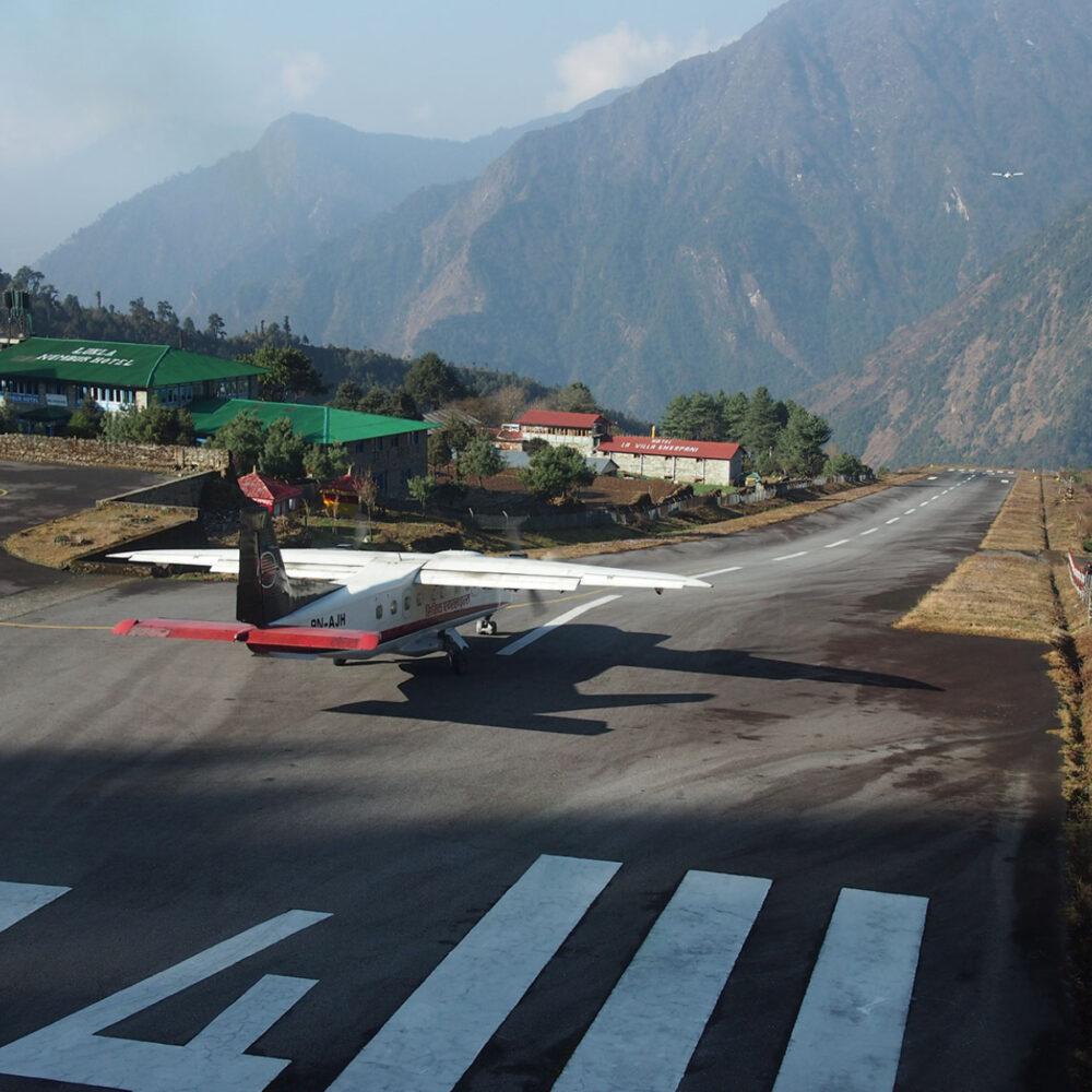 plane taking off at lukla airport